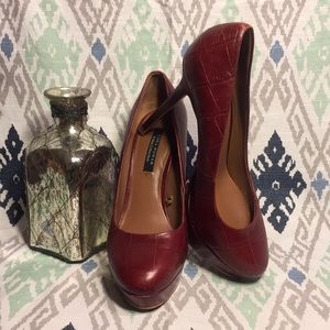 Zara Cruise Collection Red Leather Pumps 7